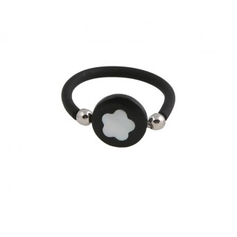 Jt silver flower ring with onyx and mother of pearls