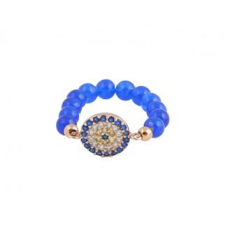 Jt Ασημένιο δαχτυλίδι μάτι στόχος με μπλε ζιργκόν