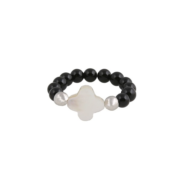 Jt silver cross ring with onyx and mother of pearl