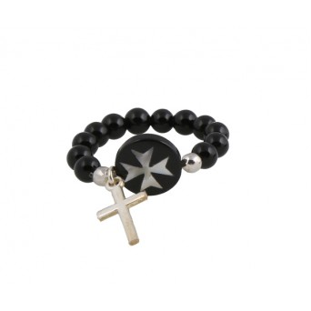 Jt black silver cross ring with mother of pearl & onyx