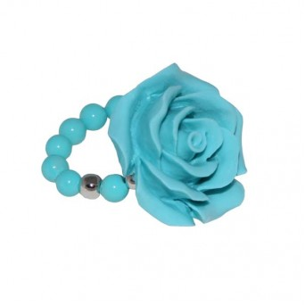Jt silver light blue rose ring with turquoise