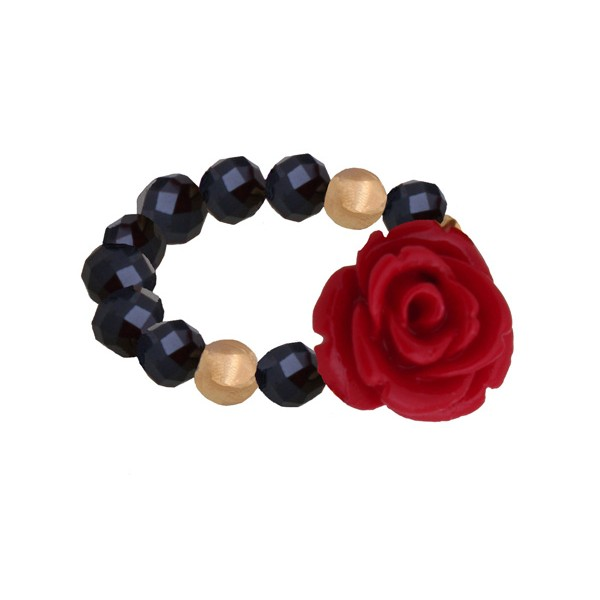 Jt Ασημένιο δαχτυλίδι κόκκινο τριαντάφυλλο με κρύσταλλα και κοράλλι