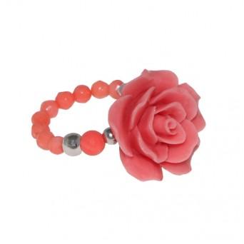 Jt Ασημένιο δαχτυλίδι ροζ τριαντάφυλλο με κοράλλι