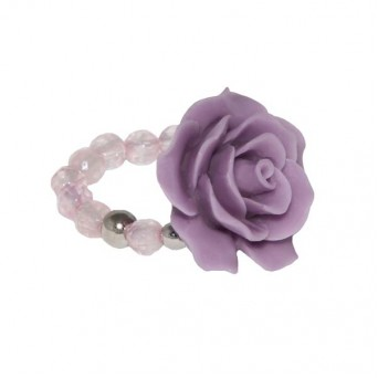 Jt silver purple rose ring with quartz