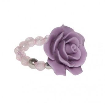 Jt Ασημένιο δαχτυλίδι μωβ τριαντάφυλλο με χαλαζία