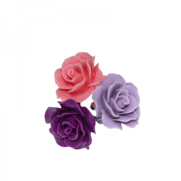 Jt Silver purple and pink rose rings with gemstones