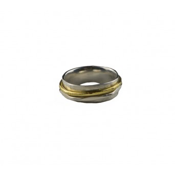 Jt Silver hammered ring with two bands