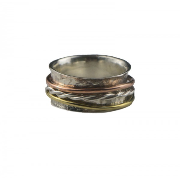 Jt Silver hammered ring with three bands