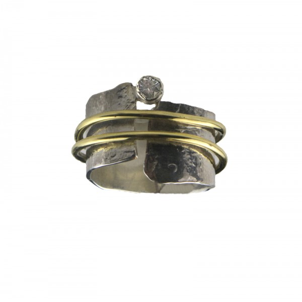 Jt Silver hammered ring with two bands and zircon