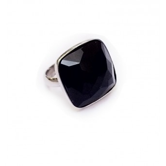 Jt Sterling silver open ring with black onyx