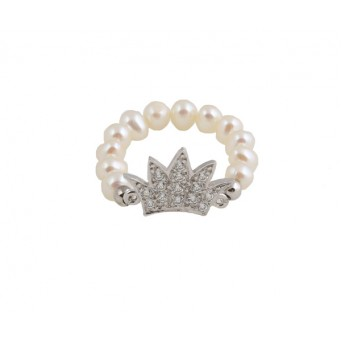 Jt silver crown ring with white zirconia and pearls