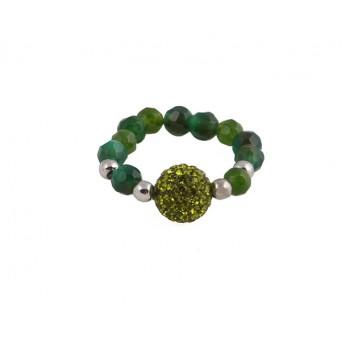 Jt Ασημένιο δαχτυλίδι Swarovski πράσινη μπάλα & αχάτες
