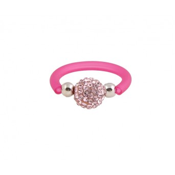 Jt silver ball ring with pink Swarovski and rubber
