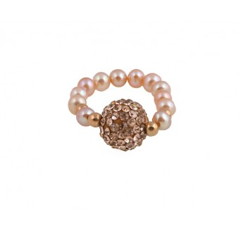 Jt silver sphere ring with warm pink Swarovski and pearls