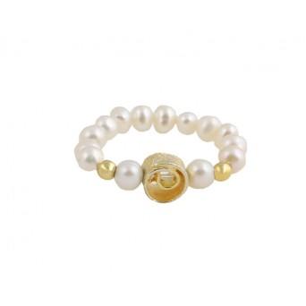 Jt Ασημένιο δαχτυλίδι σπείρα με λευκά μαργαριτάρια