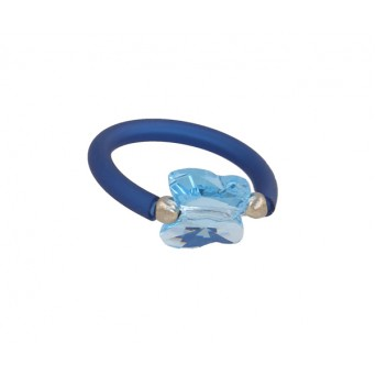 Jt Ασημένιο ελαστικό δαχτυλίδι με γαλάζια πεταλούδα Swarovski