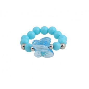 Jt Ασημένιο δαχτυλίδι πεταλούδα με γαλάζιο Swarovski
