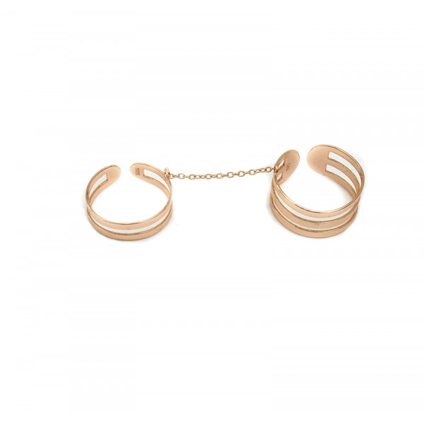 Jt Rose silver double ring with chain