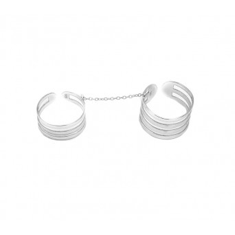 Jt Silver double ring with chain