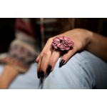 Jt Silver ring with bordeaux leather flower and Swarovski.