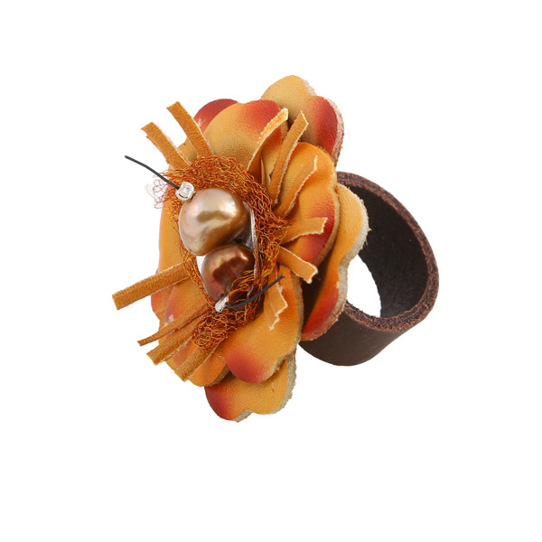 Jt Silver ring with orange leather flower