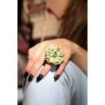 Jt Silver ring with green leather flower and Swarovski.