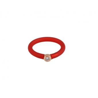 Jt Silver solitaire ring with white zircon and red rubber