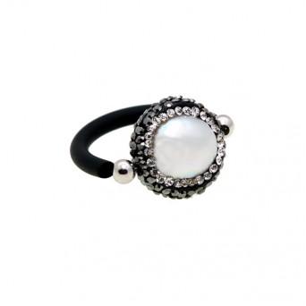 Jt Ασημένιο μονόπετρο δαχτυλίδι με μαργαριτάρι & Swarovski