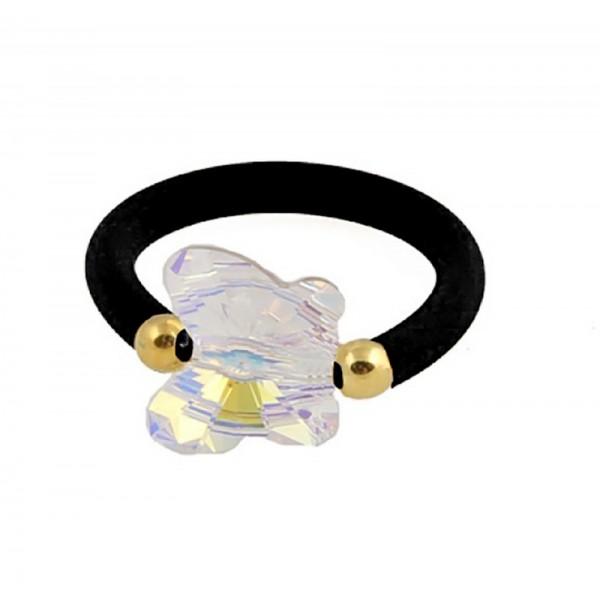 Jt Ασημένιο μονόπετρο δαχτυλίδι πεταλούδα Swarovski και καουτσούκ