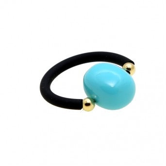 Jt silver solitaire ring with turquoise and black rubber