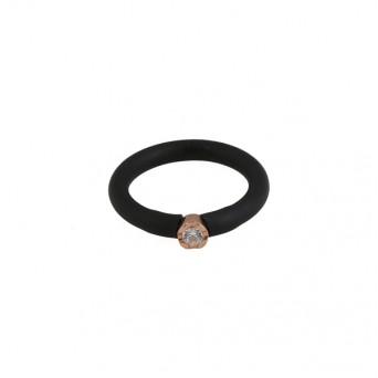 Jt Ασημένιο μονόπετρο δαχτυλίδι με ζιργκόν και μαύρο καουτσούκ