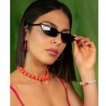 Jt Ατσάλινη αλυσίδα γυαλιών ροζάριο με τιρκουάζ σμάλτο