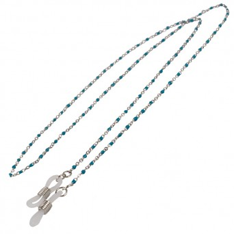 Jt Stainless steel glasses' chain rosary turquoise enamel