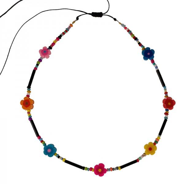 Jt Καλοκαιρινό κολιέ με πολύχρωμα λουλούδια και χάντρες