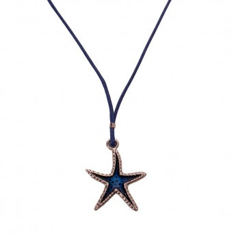 Jt ZAMAK Starfish Necklace on blue cord
