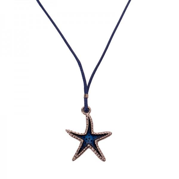 Jt ZAMAK Starfish Necklace on blue cord