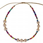 Jt Βραχιόλι ποδιού με πολύχρωμες χάντρες και μαργαριτάρια