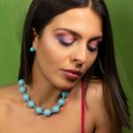 Jt Ασημένιο κολιέ γαλάζιες πέτρες νεφρίτη με κόμπους