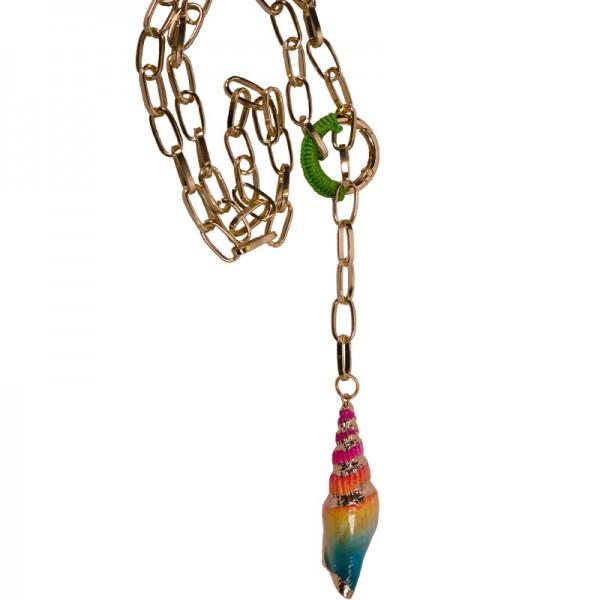 Jt Long golden aluminium seashell chain