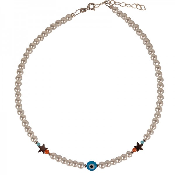 Jt Silver Pearl Necklace with evil eye and stars