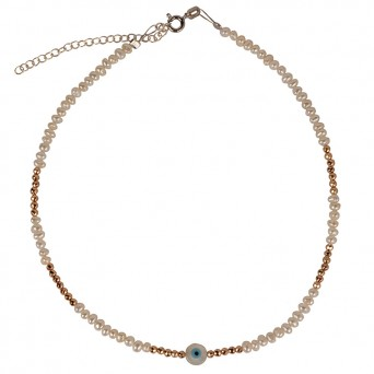 Jt Silver Fresh Water Pearl Necklace with evil eye
