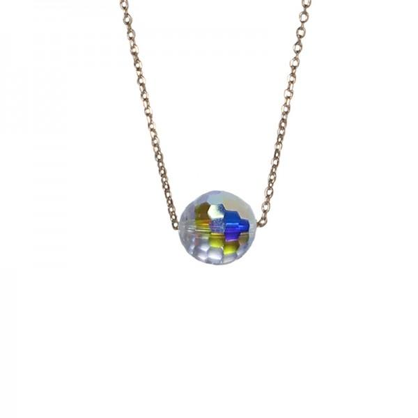 Jt Silver white iridescent Swarovski necklace on chain