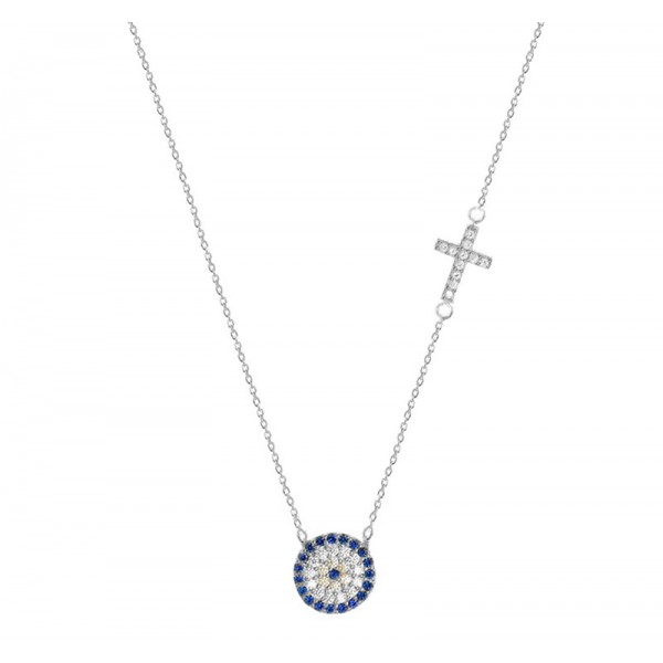 Jt Silver target eye necklace with cross and zirconia