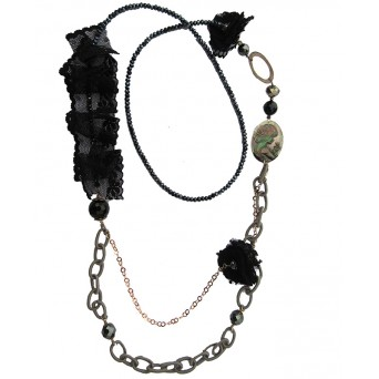 Jt Silver cameo necklace with black lace