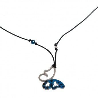 Jt Silver and steel blue butterfly necklace