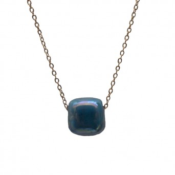 Jt Rose gold stainless steel necklace with blue bead