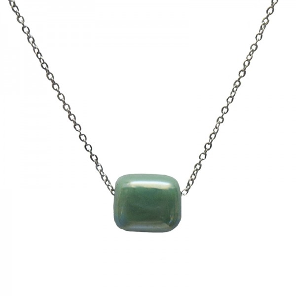 Jt Stainless steel necklace with green bead