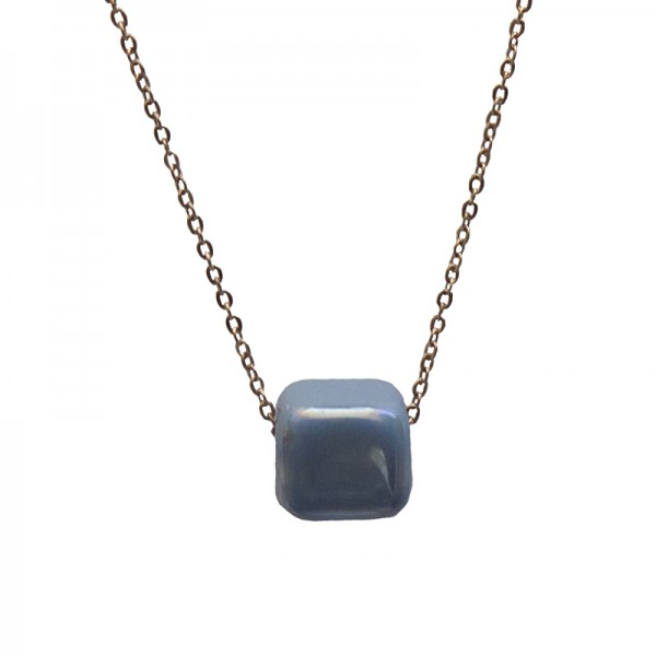 Jt Rose gold stainless steel necklace with blue raf bead