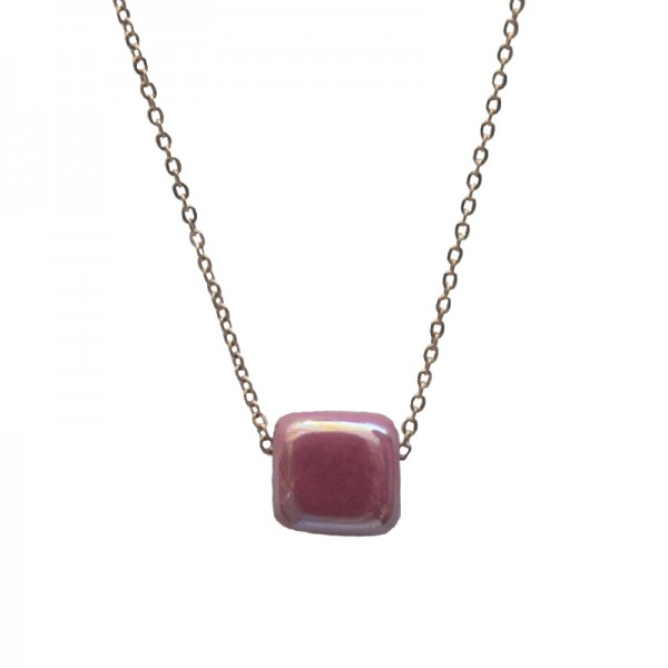 Jt Rose gold stainless steel necklace with dark rose bead