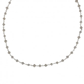 Jt Silver short link chain necklace with pearls